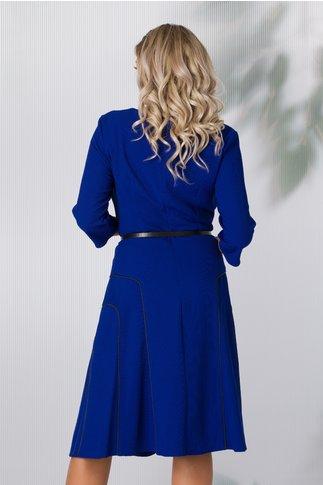 Rochie Julia albastra cu detalii negre pe fusta