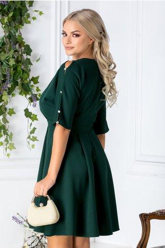Rochie Juliet verde cu pliuri si aplicatii la maneci