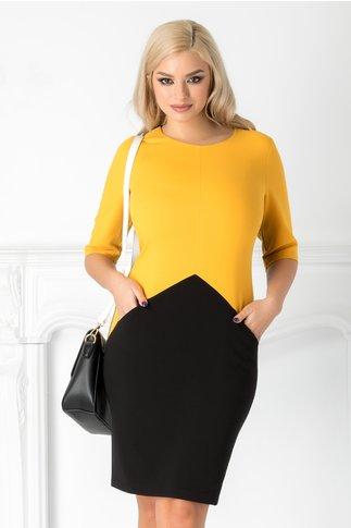 Rochie Julieta office negru cu galben