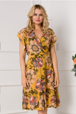 Rochie Juliette galben mustar cu imprimeu floral