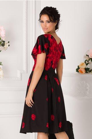 Rochie June neagra cu imprimeu floral rosu