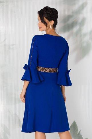 Rochie Kagami albastra cu insertii animal print, fundite la maneci si curea in talie
