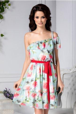 Rochie Kaitlyn bleu de zi cu print floral roz