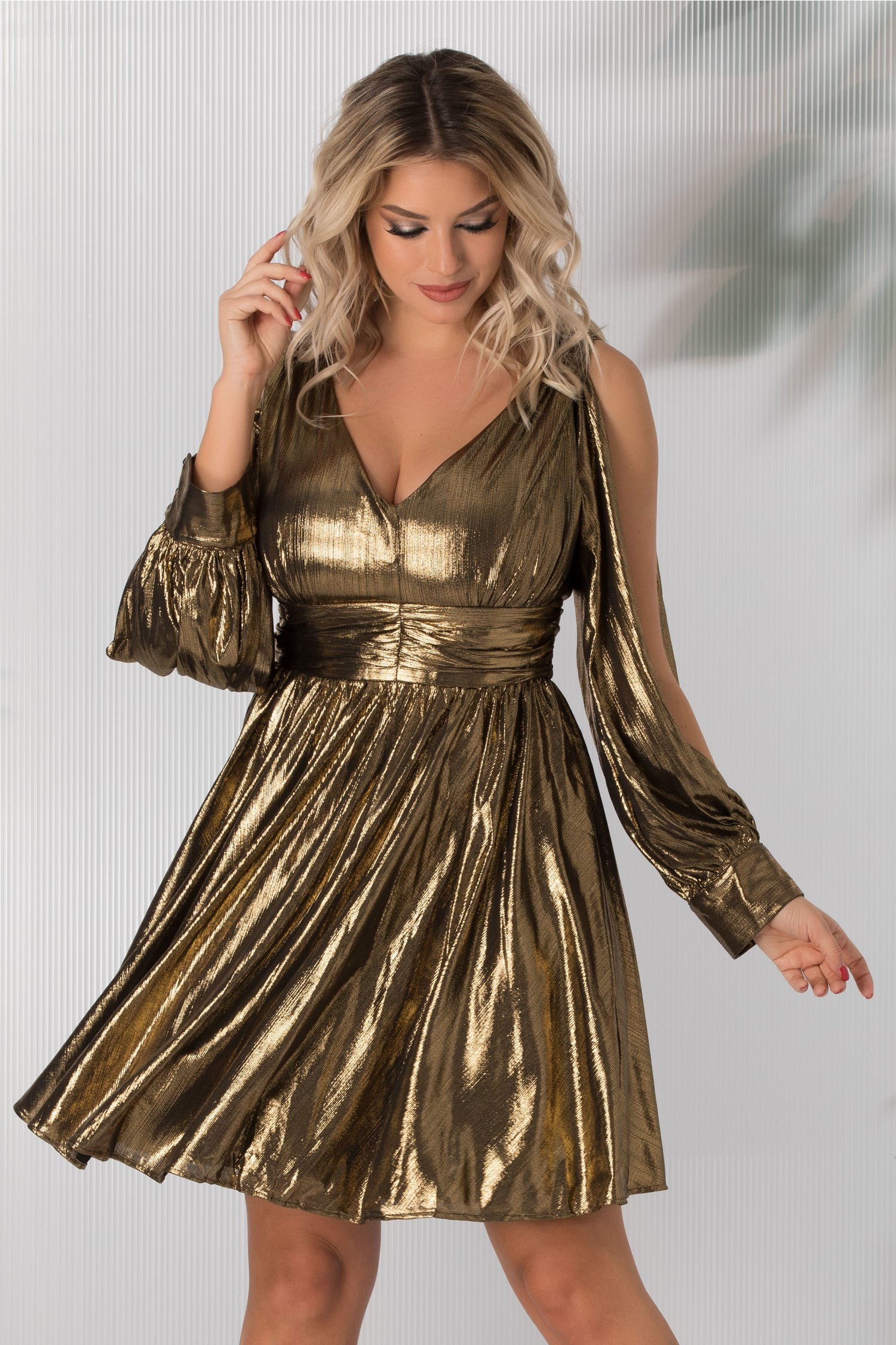 Rochie Kala auriu metalizat cu decolteu in V