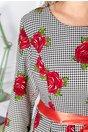 Rochie Kalida alba cu imprimeuri si trandafiri