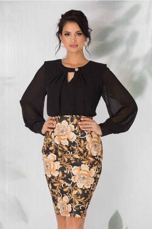 Rochie Kalini neagra cu imprimeu floral galben pe fusta