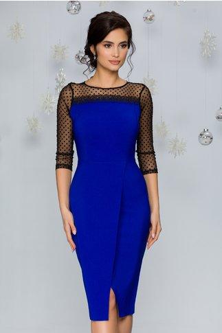 Rochie Kamy albastru accesorizata cu tull cu buline