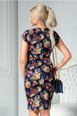 Rochie Karen bleumarin cu flori bej