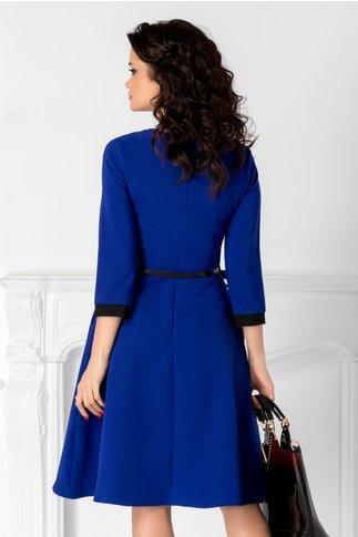 Rochie Karina albastra in clos cu guler negru