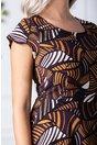 Rochie Karina de zi violet cu imprimeu divers orange