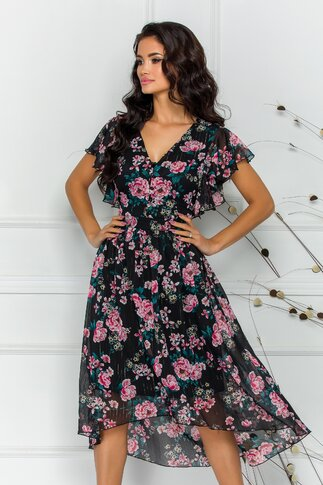 Rochie Karisa neagra cu imprimeu floral