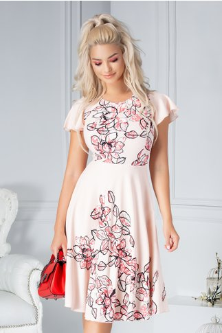 Rochie Karmen clos roz pal cu imprimeu floral