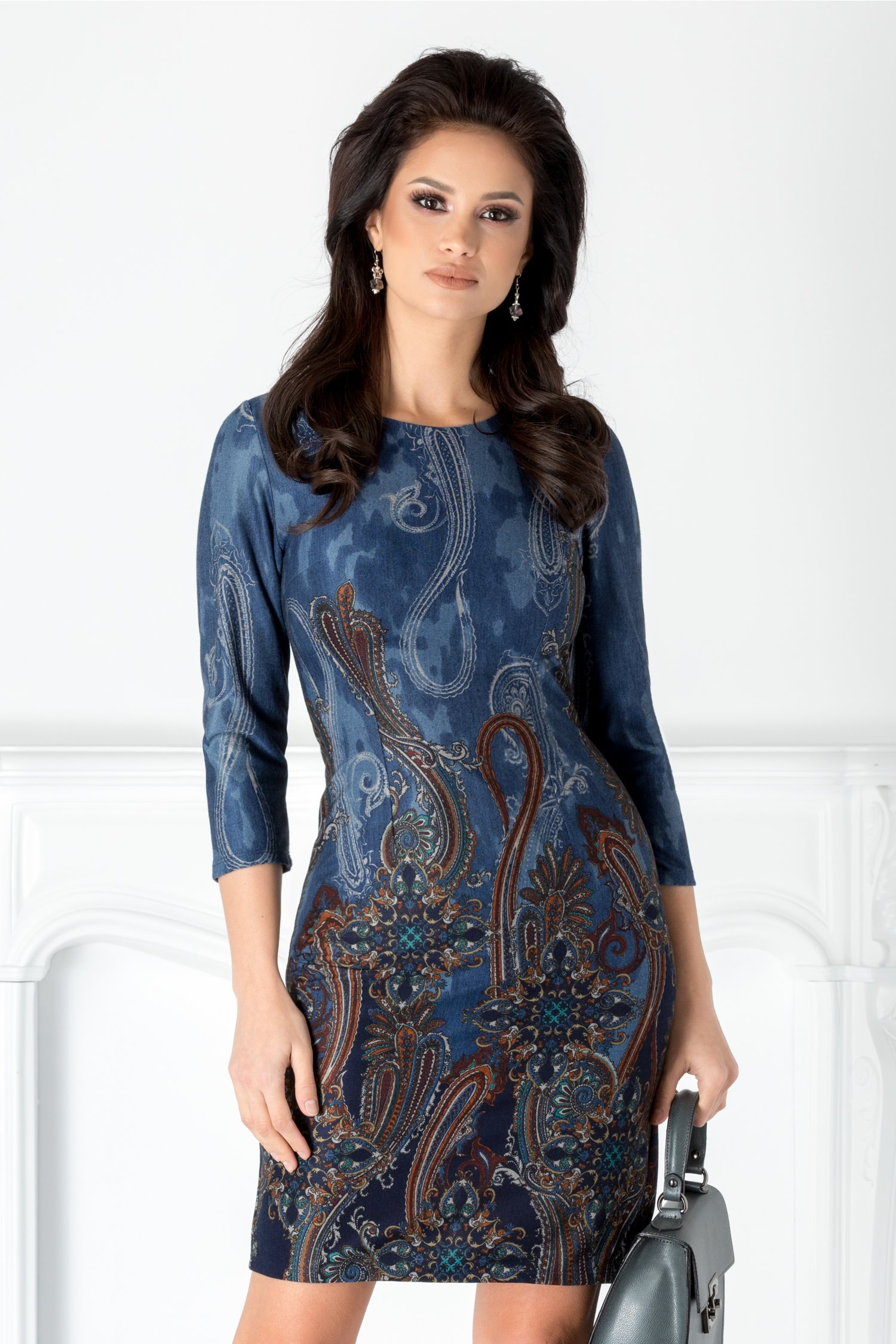 Rochie Karmina albastra cu imprimeu vintage