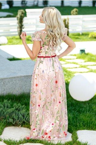 Rochie Karolina roz lunga cu broderie florala