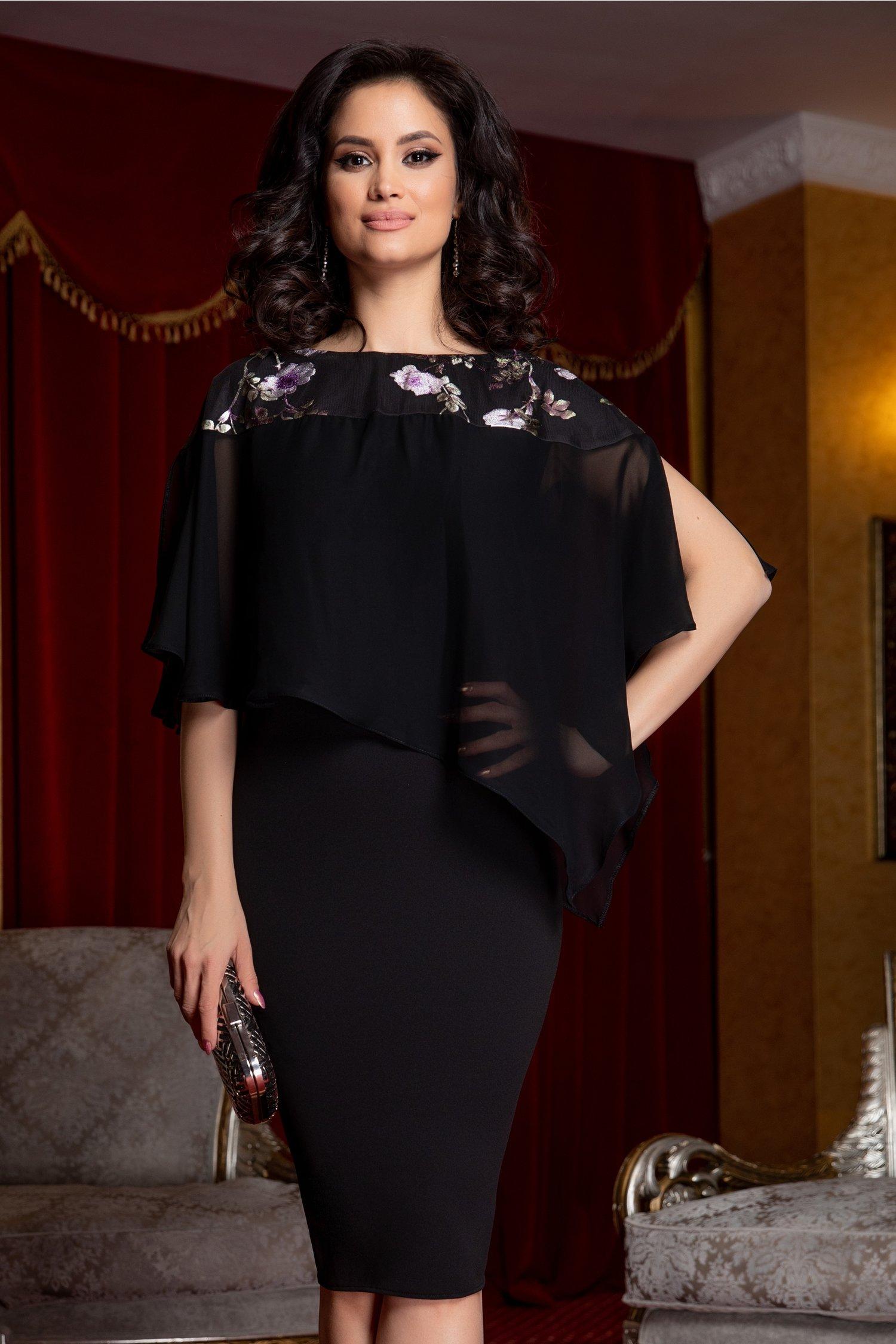 Rochie Katalyna neagra cu imprimeu floral lila la umeri