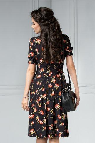 Rochie Katelyn neagra de vara cu imprimeu floral rosu