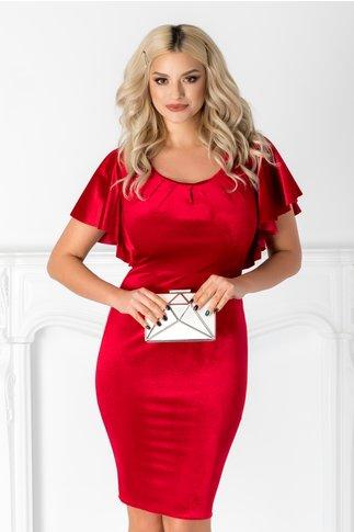 Rochie Katerina rosie conica din catifea cu volane