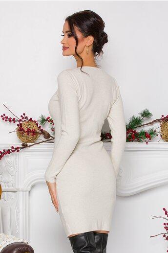 Rochie Kathy ivory din tricot cu nasturi decorativi