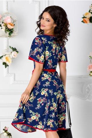 Rochie Kati bleumarin cu imprimeuri florale
