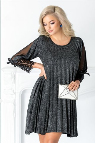 Rochie Katia neagra cu fir argintiu si dantela la maneci