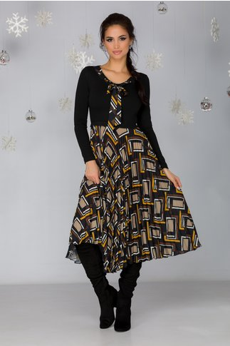 Rochie Katia neagra cu fusta plisata si imprimeu geometric in nuante de maro