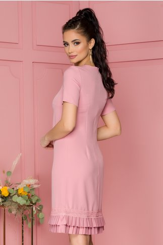 Rochie Katy roz cu volanase plisate la baza