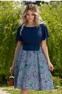 Rochie Kaylee bleumarin cu imprimeu floral si carouri