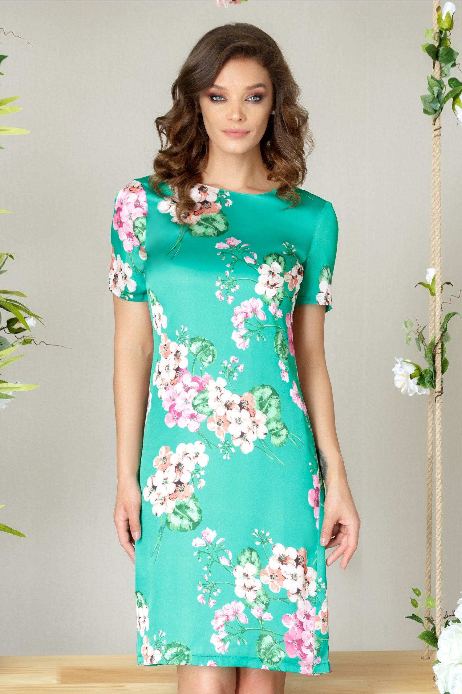 Rochie Keesha verde de vara cu imprimeu floral deosebit