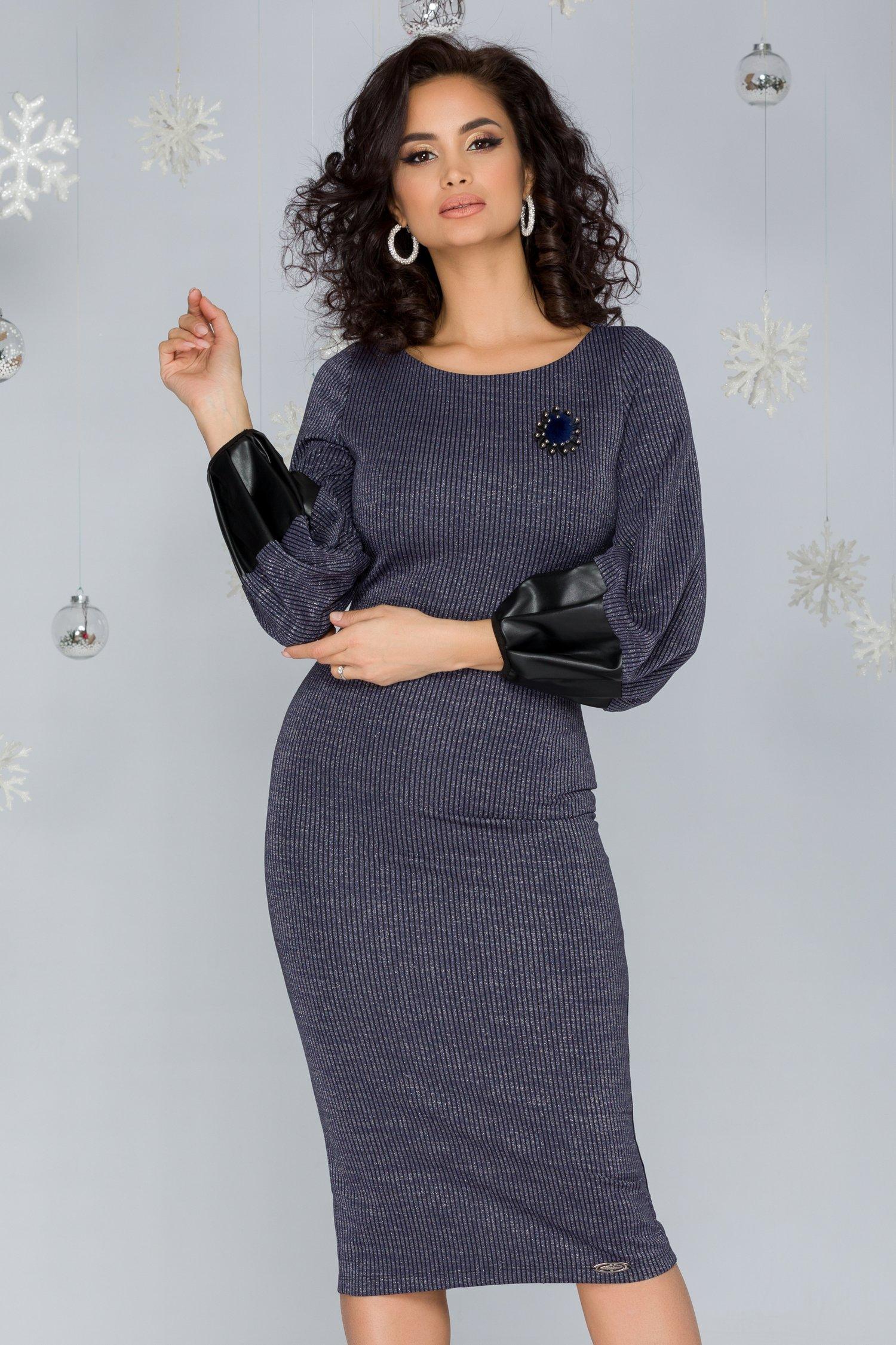 Rochie Kelly albastra cu fir lurex si dungi verticale negre