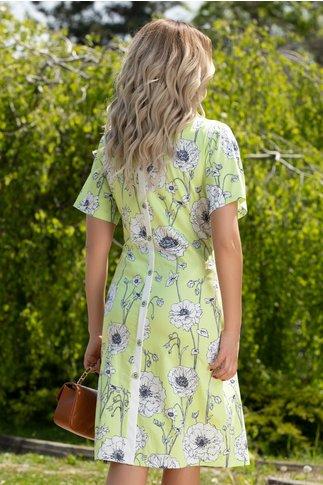 Rochie Kensy verde deschis cu imprimeu floral alb