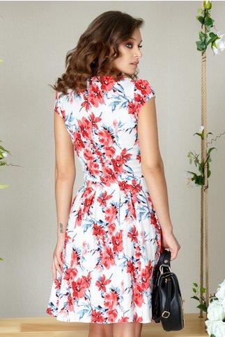 Rochie Kerry clos de vara cu imprimeu floral rosu