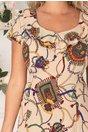 Rochie Kian bej cu imprimeu chain si volane la guler