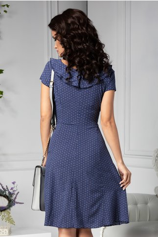 Rochie Kian bleumarin cu imprimeu alb si albastru