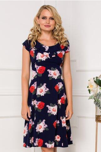 Rochie Kian bleumarin cu trandafiri si volane la guler