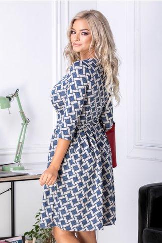 Rochie Kira bleumarin cu imprimeu bej si pliuri