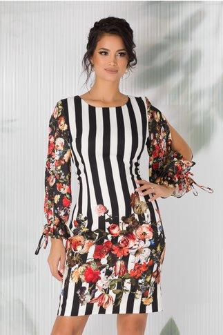 Rochie Kira cu dungi si imprimeuri florale