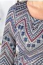 Rochie Kira gri cu imprimeu geometric colorat si pliuri