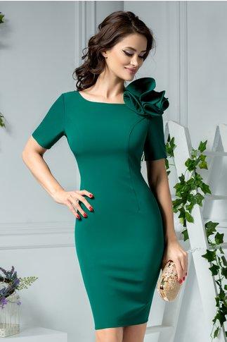 Rochie Kira verde de ocazie cu floare aplicata la umar