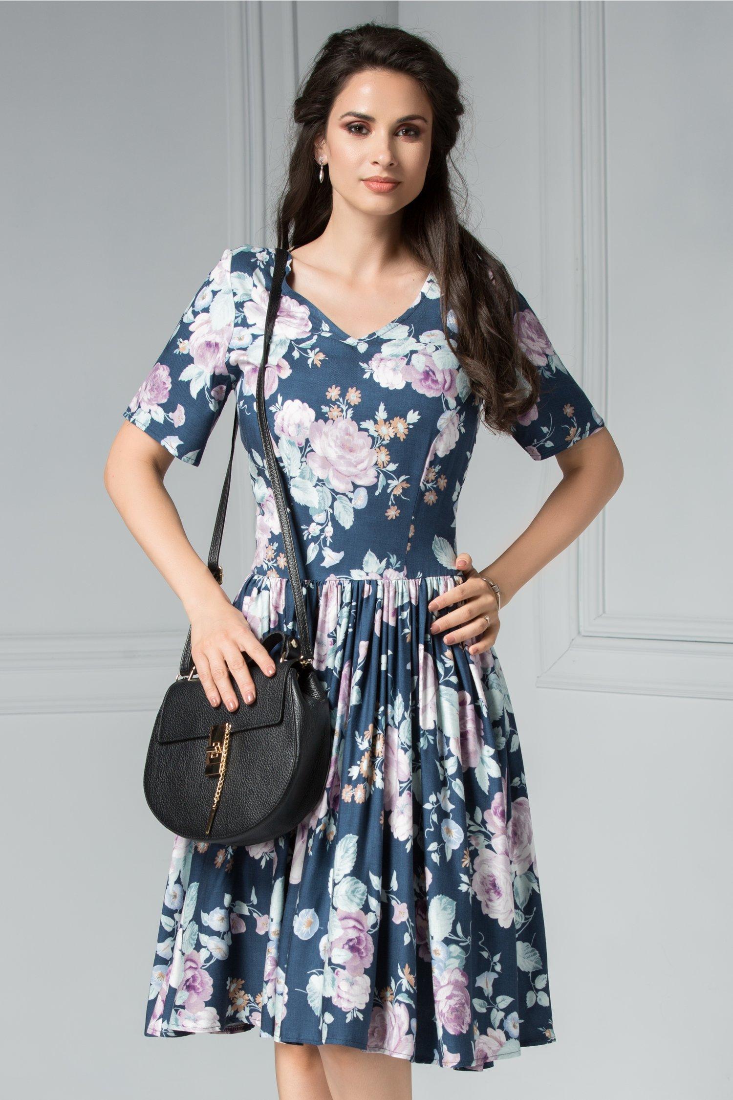 Rochie Krista bleumarin de vara cu imprimeu foral lila