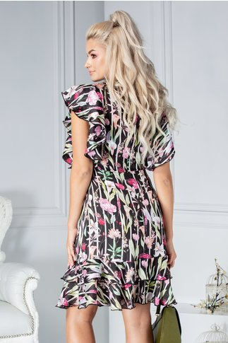 Rochie Kristen de vara neagra cu dungi si flori colorate