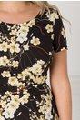 Rochie Kristen neagra cu imprimeu floral bej