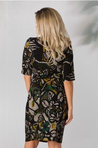 Rochie Kristen neagra cu imprimeu multicolor