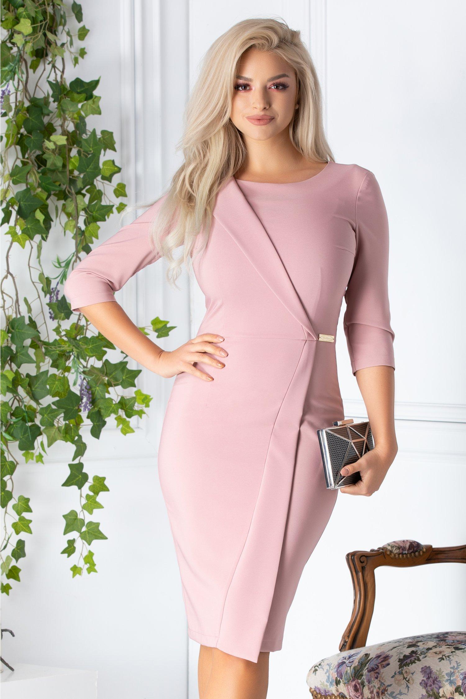 Rochie La Donna roz prafuit conica eleganta