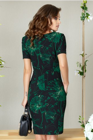 Rochie Lacey de zi neagra cu imprimeu floral verde