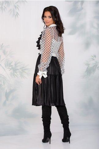 Rochie LaDonna alb cu negru clos cu pliuri