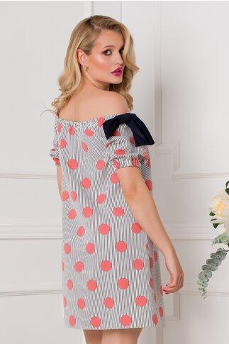 Rochie LaDonna alba cu imprimeu divers cu dungi bleumarin si buline roz