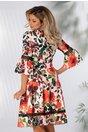 Rochie LaDonna alba cu imprimeu floral rosu si insertii din dantela