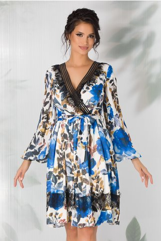 Rochie LaDonna alba cu imprimeu floral si benzi negre la decolteu si mansete