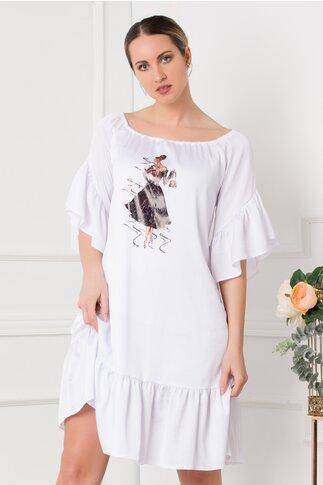 Rochie LaDonna alba din satin cu volane si imagine imprimata pe fata