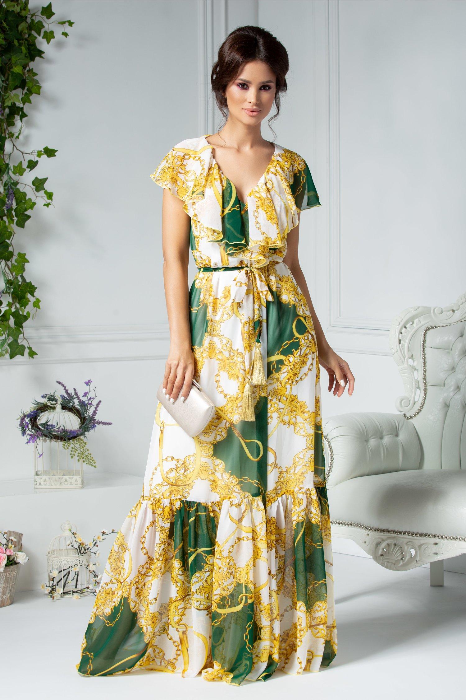 Rochie Ladonna alba lunga petrecuta cu imprimeu verde